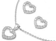 Heart Clear Cubic Zirconia Matching Set Sterling Silver 13MM