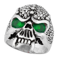 Serpentine Demon Skull Sterling Silver 925 Green Cubic Zirconia Eyes