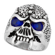 Serpentine Demon Skull Sterling Silver 925 Simulated Sapphire Blue Cubic Zirconia Eyes
