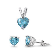 Heart Blue Simulated Sapphire Cubic Zirconia Matching Set Sterling Silver 7MM