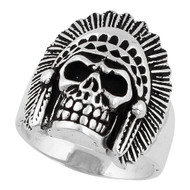Apache Tribal Chief Skull Ring Sterling Silver 925