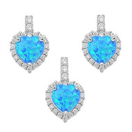 Heart Blue Simulated Opal Cubic Zirconia Matching Set Sterling Silver 18MM