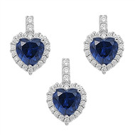 Heart Blue Simulated Sapphire Cubic Zirconia Matching Set Sterling Silver 18MM