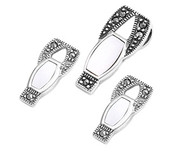 Abstract Drop Simulated Mother Of Pearl Matching Set Sterling Silver 21MM