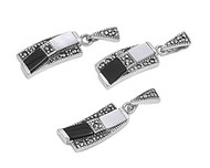 Bent Drop Simulated Onyx & Simulated Mother Of Pearl Matching Set Sterling Silver 27MM