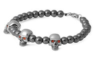 Tres Marias Skull Biker Bracelet Simulated Garnet Cubic Zirconia Stainles Steel Size 9