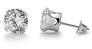 Round Cubic Zirconia Stud Earrings Stainles Steel 6MM