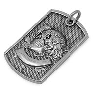 Skull Dog Tag Pendant Stainles Steel 50MM