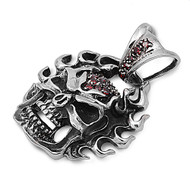 Flaming Skull Simulated Garnet Cubic Zirconia Pendant Stainles Steel 34MM
