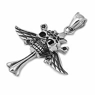 Winged Skull Cross Pendant Stainles Steel 35MM