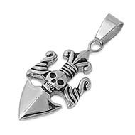 Skull Fleur De Lis Pendant Stainles Steel 41MM