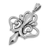 Fleur De Lis Pendant Stainles Steel 50MM