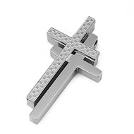 Double Cross Pendant Stainles Steel 32MM