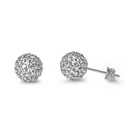 Pave Ball Cubic Zirconia Earrings Sterling Silver  8MM