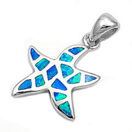 Starfish Simulated Opal Pendant Sterling Silver  18MM