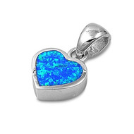 Heart Simulated Opal Pendant Sterling Silver  10MM