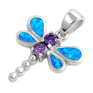 Dragonfly Simulated Opal Pendant Sterling Silver  20MM