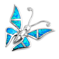Butterfly Simulated Opal Pendant Sterling Silver  29MM