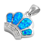 Crown Simulated Opal Pendant Sterling Silver  16MM