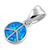 Peace Sign Simulated Opal Pendant Sterling Silver  10MM
