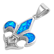 Fleur De Lis Simulated Opal Pendant Sterling Silver  25MM