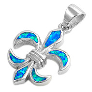 Fleur De Lis Simulated Opal Pendant Sterling Silver  21MM