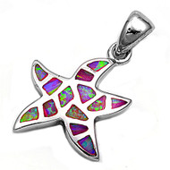 Starfish Simulated Opal Pendant Sterling Silver  17MM