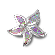 Starfish Simulated Opal Pendant Sterling Silver  23MM