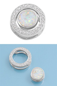 Detachable Round Simulated Opal Pendant Sterling Silver  15MM