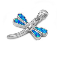 Dragonfly Simulated Opal Pendant Sterling Silver  19MM