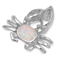 Crab Simulated Opal Pendant Sterling Silver  22MM