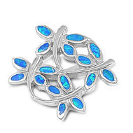Dragonfly Simulated Opal Pendant Sterling Silver  17MM