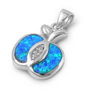 Apple Simulated Opal Pendant Sterling Silver  18MM