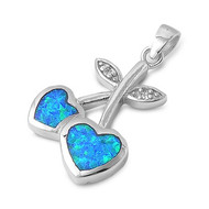 Heart Apple Simulated Opal Pendant Sterling Silver  26MM