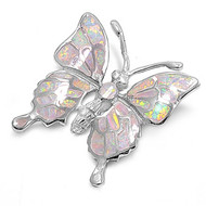Butterfly Simulated Opal Pendant Sterling Silver  31MM