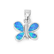 Butterfly Simulated Opal Pendant Sterling Silver  14MM