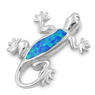 Lizard Simulated Opal Pendant Sterling Silver  27MM
