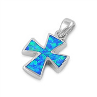 Cross Simulated Opal Pendant Sterling Silver  20MM