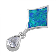 Teardrop Clear Cubic Zirconia Kite Simulated Opal Pendant Sterling Silver  31MM