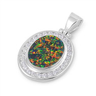 Round Halo Simulated Opal Pendant Sterling Silver  28MM