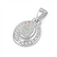 Round Halo Simulated Opal Pendant Sterling Silver  21MM