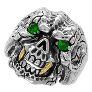 Beast with Gold-Tone Fangs Skull Ring Sterling Silver 925 Green Cubic Zirconia Eyes