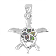 Sea Turtle Flower Simulated Opal Pendant Sterling Silver  23MM