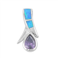 Teardrop Simulated Amethyst Cubic Zirconia Simulated Opal Pendant Sterling Silver  24MM