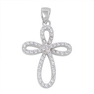 Knot Cross Cubic Zirconia Pendant Sterling Silver  26MM