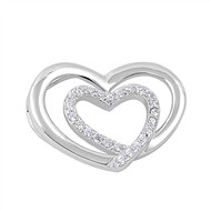 Double Heart Cubic Zirconia Pendant Sterling Silver  15MM