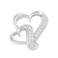 Double Heart Cubic Zirconia Pendant Sterling Silver  19MM