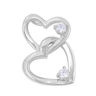 Double Heart Cubic Zirconia Pendant Sterling Silver  24MM
