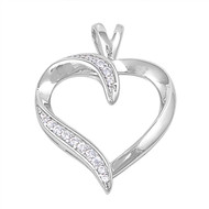 Heart Cubic Zirconia Pendant Sterling Silver  29MM