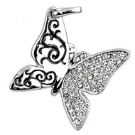 Butterfly Filigree Cubic Zirconia Pendant Sterling Silver  18MM